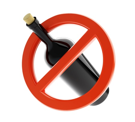 alcoholismo: Ning�n signo de alcohol sobre un fondo blanco