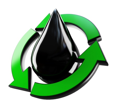 recycling drop of oil on a white background