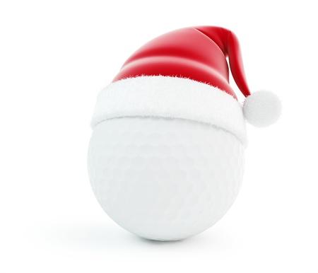 balle de golf: balle de golf de Santa chapeau isol� sur un fond blanc