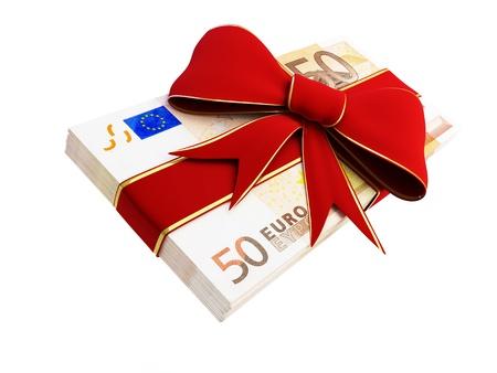 euro bill: Gift of Money euro  on a white background  Stock Photo