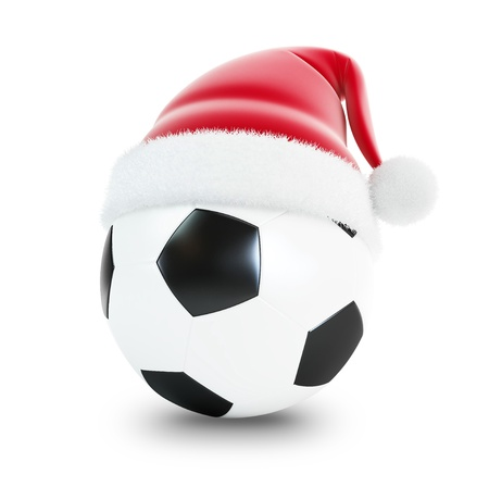 santa hat soccer ball isolated on a white background  photo