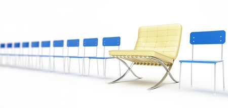 modern chair and a number of simple chairs on a white background Stock Photo - 13862705