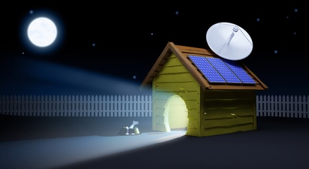 solar roof: doghouse  dog watching TV in the evening  Stock Photo