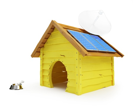 dog house with solar panels and antenna on a white background Stock Photo