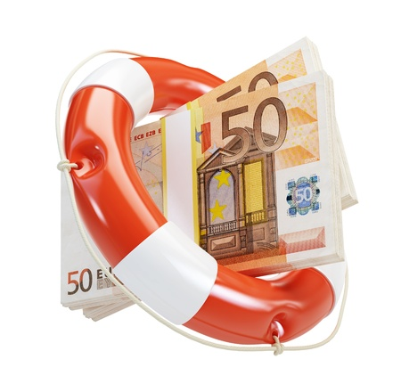 business survival: help euro financial crisis on a white background  Stock Photo