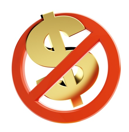 interdiction: dollar crise financière sur un fond blanc