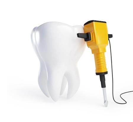 presslufthammer: Zahn mit einem Presslufthammer auf weißem Hintergrund
