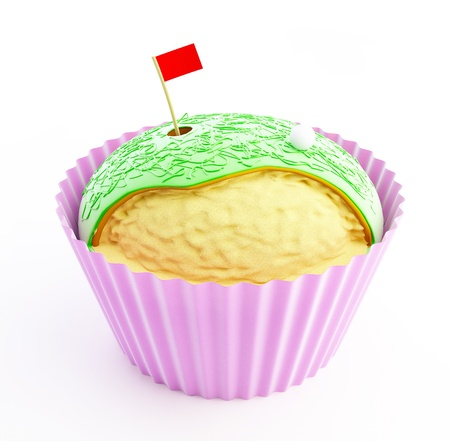 cupcake Golf 3d on a white background Stock Photo