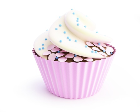 cupcakes 3d on a white background Stock Photo - 13862778