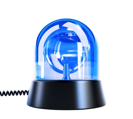 patrolman: blue flashing light on a white background Stock Photo