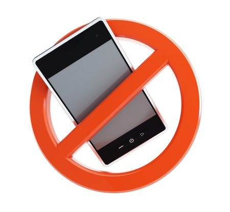 phone ban: no phone on a white background Stock Photo