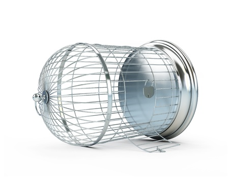 cadena rota: jaula abierta sobre un fondo blanco
