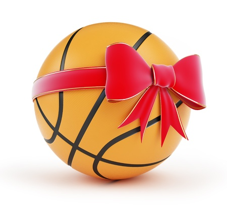 gift basketball ball on a white background photo