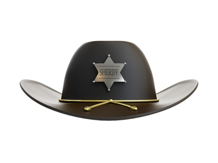 fedora hat: sheriff hat on a white background