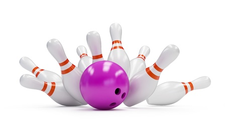 bowling: bowling strike on a white background