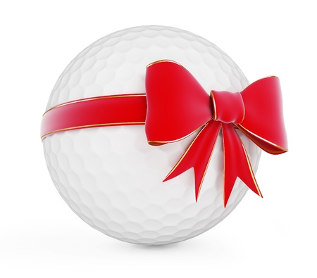 Golfball Geschenk auf weißem Hintergrund Standard-Bild - 13869651