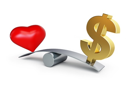 money exchange: love or money balances on a white background