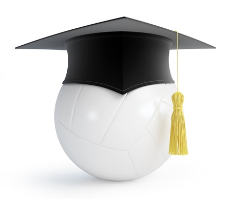 examiert: volleyball ball graduation cap on a white background