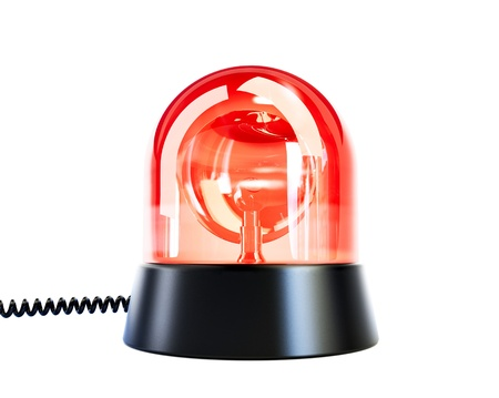 red siren: red flashing light on a white background