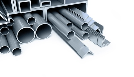 aluminium: metal pipes, angles, channels, squares Stock Photo