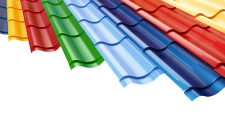 Color Metal Roof Tile  background  Stock Photo