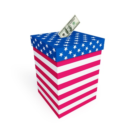 secrecy of voting: price of vote in elections in the U.S. on a white background