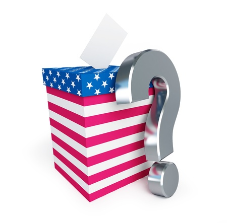 ballot box: usa vote question mark on a white background  Stock Photo