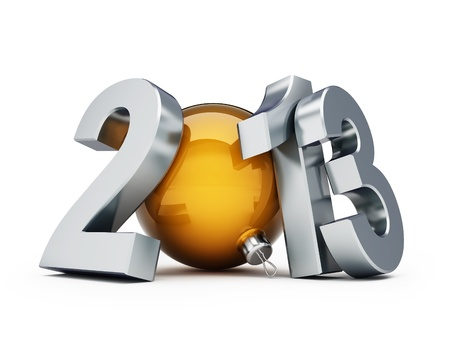 happy new year 2013 on a white background