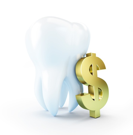 cost of dental treatment on a white background photo
