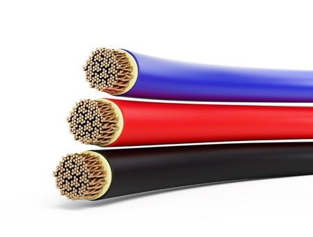 black electrical cable on a white background