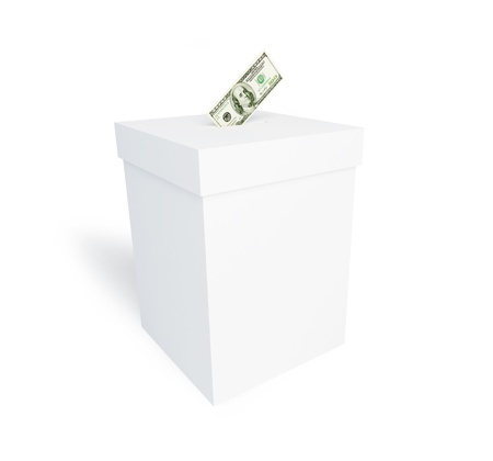 secrecy of voting: bribing of voters on a white background Stock Photo