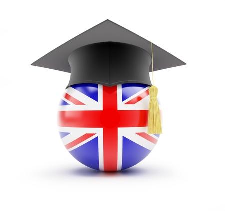 bandera inglesa: Estudiar en Inglaterra, el aprendizaje de Inglés Foto de archivo