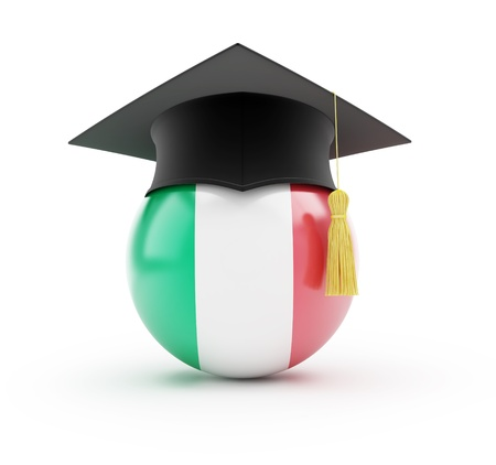 italien flagge: Bildung in Italien auf einem wei�en Hintergrund