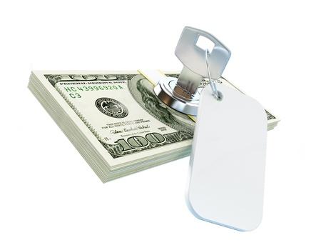 dollar key on a white background
