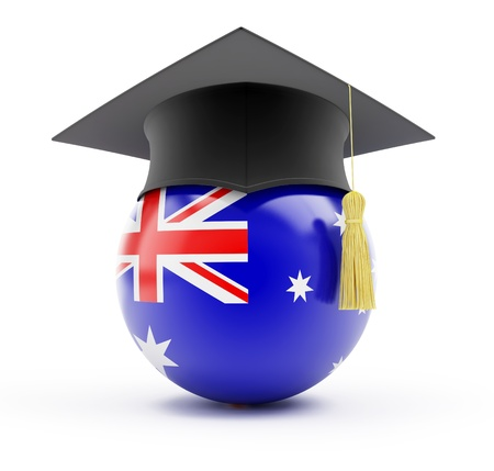 education in australia on a white background photo