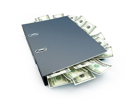 Office folder full of dollars on a white background photo
