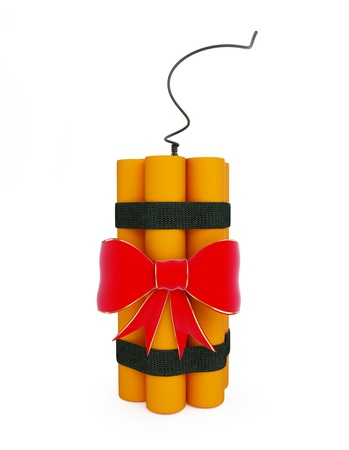 gift dynamite on a white background  photo