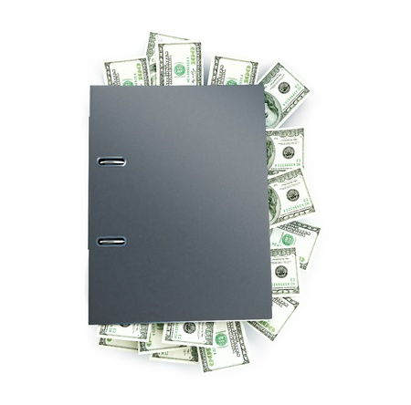Office folder full of dollars on a white background Stock Photo - 13871293