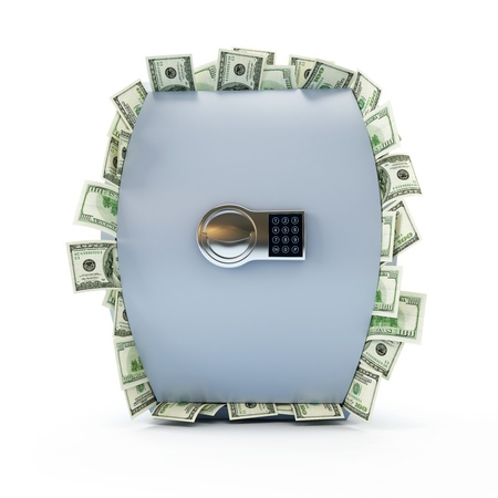 safe full of dollars on a white background photo