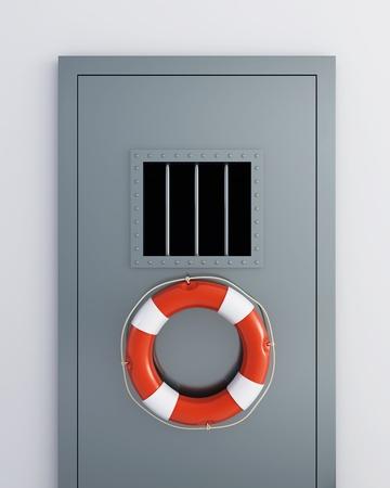 prison doors life buoy photo