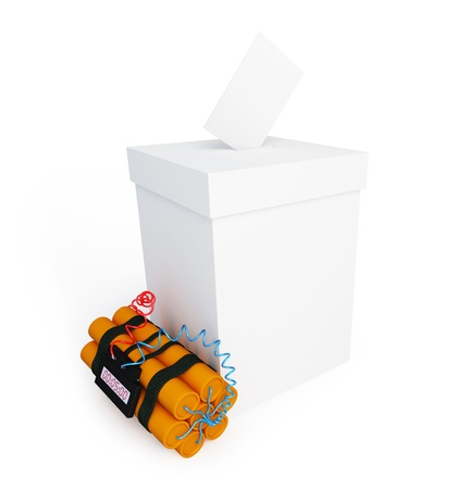 secrecy of voting: vote box dynamite on a white background