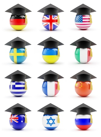 education in sweden: set education on a white background Stock Photo