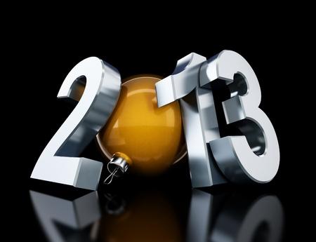 Frohes neues Jahr 2013 auf schwarzem Hintergrund Standard-Bild - 14439481