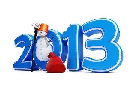 Schneemänner Neujahr 2013 auf weißem Hintergrund Standard-Bild - 14439485