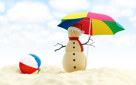 snowman on a beach  photo