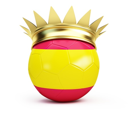 soccer ball spain gold crown on a white background  photo