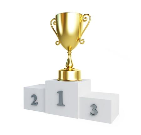 Gold-Trophäe Pokalsieger Podest auf weißem Hintergrund Standard-Bild - 14439472