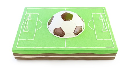 football field cake 3d on a white background  photo