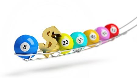 loteria: lotería de oro bola de signo de dólar en el fondo blanco Foto de archivo