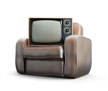 retro tv: home old leather armchair tv isolated at white background